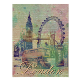 Schöne trendy Vintage London-Sehenswürdigkeiten Poster