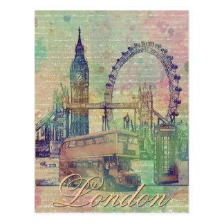 Schöne trendy Vintage London-Sehenswürdigkeiten Postkarte