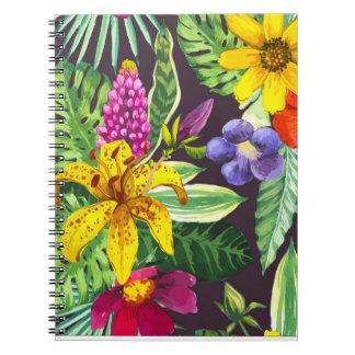 Schöne tropische Palmen und Blumen-Notizbuch Notizblock