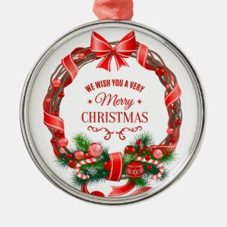 Schöne und elegante WeihnachtsKranz-Verzierung Rundes Silberfarbenes Ornament