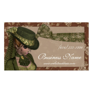 Schöne viktorianische Frau in den grünen Geschäfts Visitenkarten