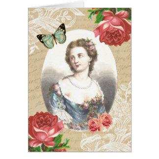Schöne Vintage Anmerkungskarte mit Dame und Rosen Karte