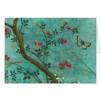 Schöne Vintage antike Blütenbaumschmetterlinge Karte