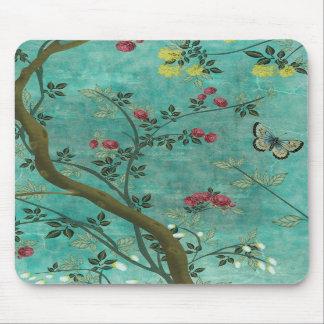 Schöne Vintage antike Blütenbaumschmetterlinge Mauspad