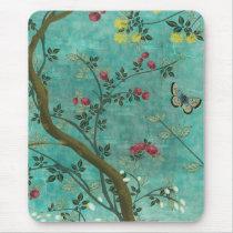Schöne Vintage antike Blütenbaumschmetterlinge Mousepads