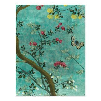 Schöne Vintage antike Blütenbaumschmetterlinge Postkarte