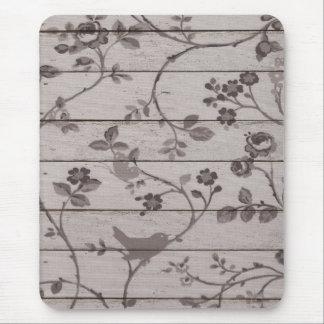 Schöne Vintage elegante Blumenvogelschmetterlinge Mousepads