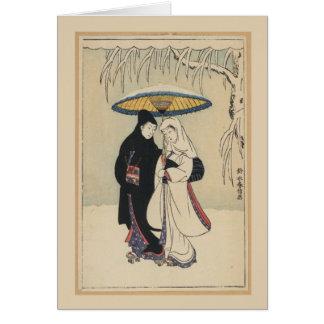 Schöne Vintage japanische Kunst, Geisha-Karte Grußkarte