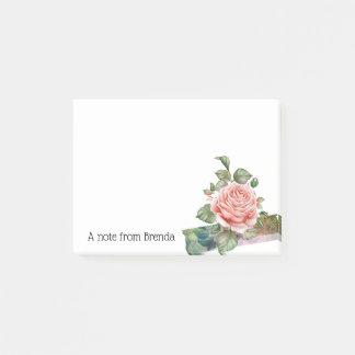Schöne Vintage rosa Rose personalisiert Post-it Klebezettel