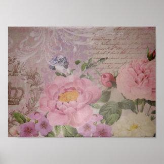 Schöne Vintage rosa und blaue Rosen und Blumen Poster