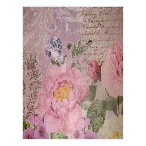 Schöne Vintage rosa und blaue Rosen und Blumen Postkarte