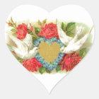 Schöne Vintage Valentine-Tauben u. Rosen Herz-Aufkleber