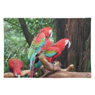 Schöne Vögel der Liebe I!  rote und blaue Stofftischset