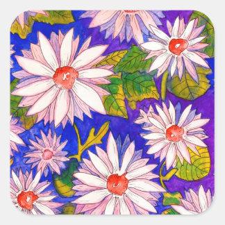 Schöne Wasserfarbe-Gänseblümchen-Aufkleber Quadratischer Aufkleber