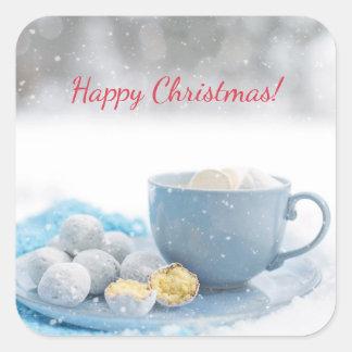 Schöne Weihnachtsatmosphäre mit heißer Schokolade Quadratischer Aufkleber