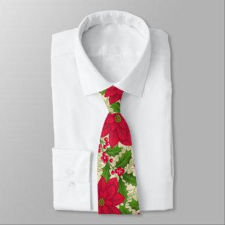 Schöne Weihnachtspoinsettia, Stechpalme, Krawatte