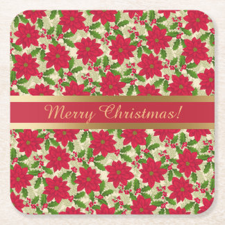 Schöne Weihnachtspoinsettia, Stechpalme, Rechteckiger Pappuntersetzer