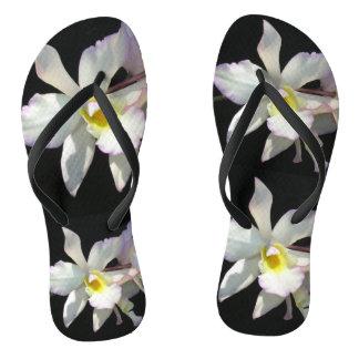 Schöne weiße ORCHIDEE tropische Blumen extravagant Flip Flops