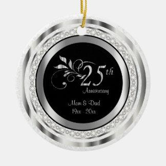 Schöner 25. silberner Hochzeitstag Rundes Keramik Ornament