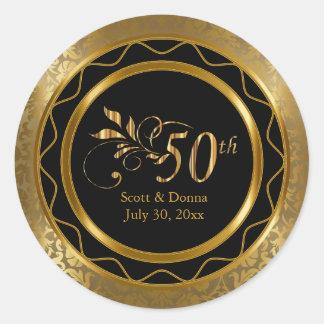 Schöner 50. goldener Hochzeitstag Runder Aufkleber