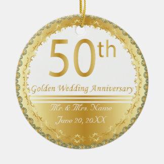 Schöner 50. goldener Hochzeitstag Rundes Keramik Ornament