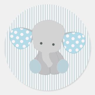 Schöner Baby-Blau-Elefant Runder Aufkleber