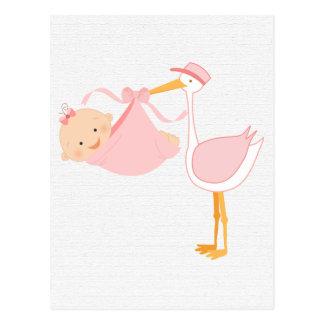 Schöner Baby-Rosa-Storch, ist es ein Mädchen! Postkarte