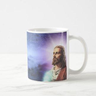 schöner Becher mit dem Bild von Jesus. Kaffeetasse