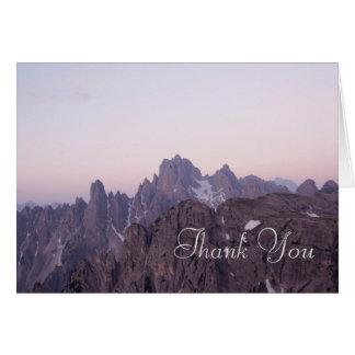 Schöner Berg danken Ihnen zu kardieren Karte