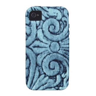 Schöner blauer Lilien-Entwurf Scrollwork iPhone 4 Hüllen