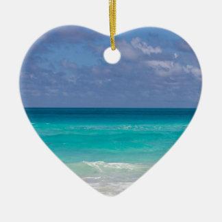 Schöner blauer Ozean Keramik Herz-Ornament