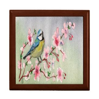Schöner blauer Tit-Vogel auf Kirschblüten-Baum Schmuckschachtel