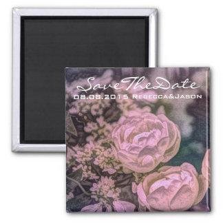 schöner Blumenentwurf der rosa und staubigen Rose Quadratischer Magnet