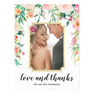 Schöner Blumenrahmen Boho danken Ihnen Postkarte