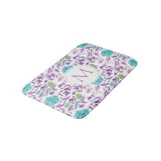 Schöner BlumenTürkis-violettes Muster-Monogramm Badematte