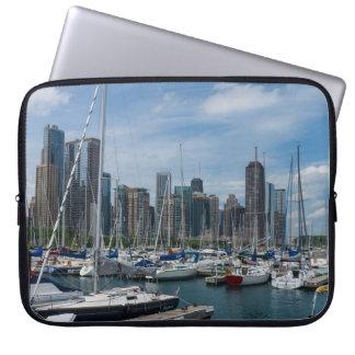 Schöner Chicago-Hafen Laptopschutzhülle