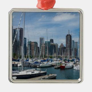 Schöner Chicago-Hafen Silbernes Ornament