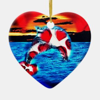 Schöner Delphin Keramik Herz-Ornament