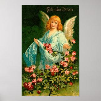 Schöner deutscher Vintager Ostern-Engel Poster