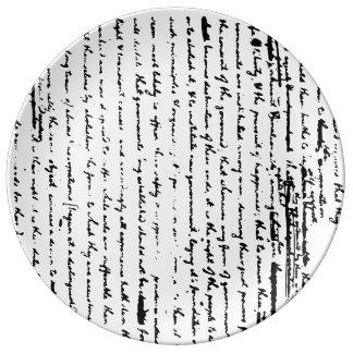 Schöner Entwurf des Skriptes ab 1776 durch Porzellanteller