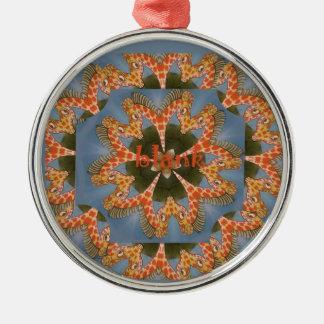 Schöner fantastischer afrikanischer bunter rundes silberfarbenes ornament