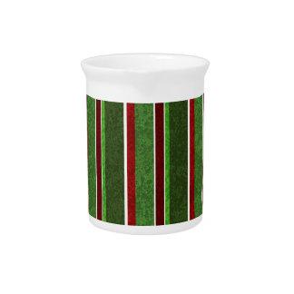 Schöner Feiertags-rotes und grünes Streifen-Muster Krug