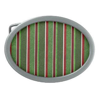 Schöner Feiertags-rotes und grünes Streifen-Muster Ovale Gürtelschnallen
