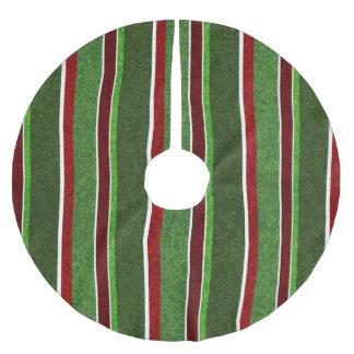 Schöner Feiertags-rotes und grünes Streifen-Muster Polyester Weihnachtsbaumdecke