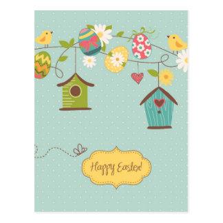 Schöner Frühlings-Hintergrund mit Vogel-Häusern Postkarte