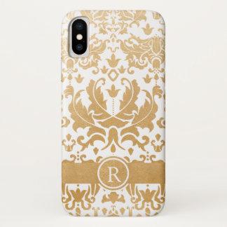 Schöner Golddamastmonogramm-Telefonkasten iPhone X Hülle
