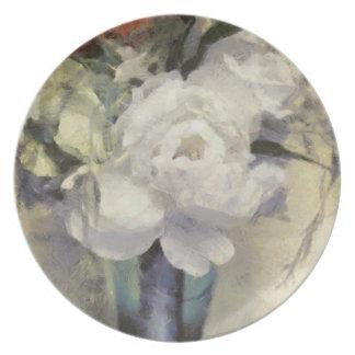 Schöner Hüttechic-weißer Blumenblumenstrauß Melaminteller