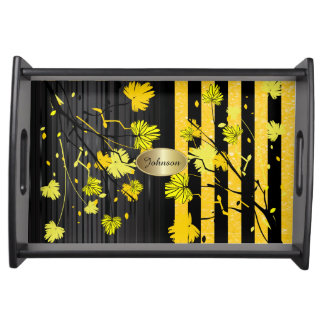 Schöner Kunst-Deko-gelber u. schwarzer Blumen-DIY Tablett