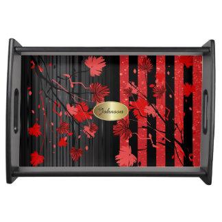 Schöner Kunst-Deko-roter u. schwarzer Blumen  DIY Tablett