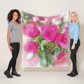 Schöner LIEBE Rosen-Blumenstrauß romantisch Fleecedecke